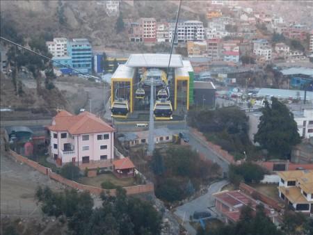 ボリビア  ラパスの世界一高いところにあるロープウェイ