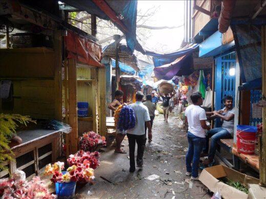 インド  汚い場所で美しい花を売るフラワーマーケット【コルカタ】